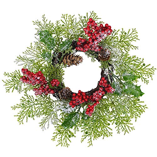 2 Pcs Artificial Snowy Cedar and Berry Candle Rings Christmas Candle Holder Rings Faux Cedar Twigs Wreath Mini Window Mirror Wreaths 12.6' Wide with Pine Cones Holly Leaves for Holiday Season Winter