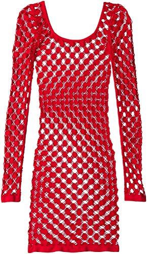 Glitzer Damen Minikleid Langarm U-Ausschnitt groß Schweizer Punkte - Rot - Einheitsgröße