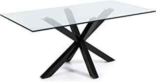 LF - Table de salle à manger Arya 200 x 100 plateau verre pied noir