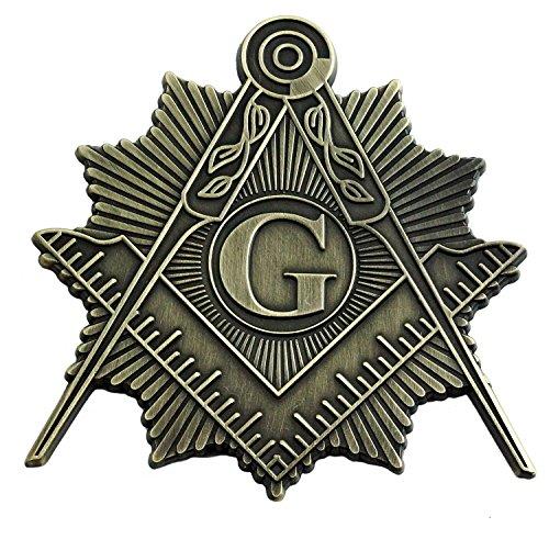 Shining Square & Kompass Freimaurer-Auto-Emblem – [Antik Messing] [7,6 cm hoch]