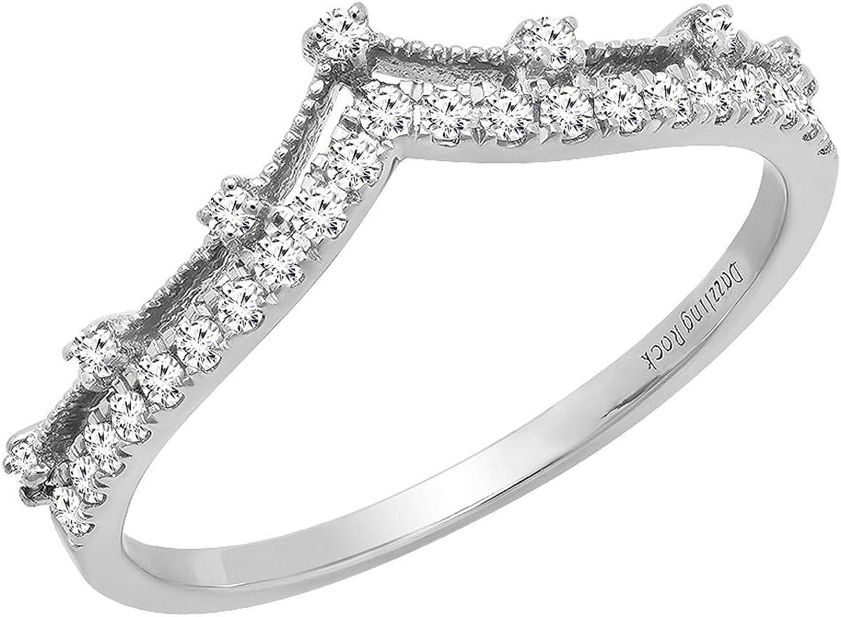 Dazzlingrock Collection Round Gemstone お洒落 White Ladies Ch Diamond 『1年保証』