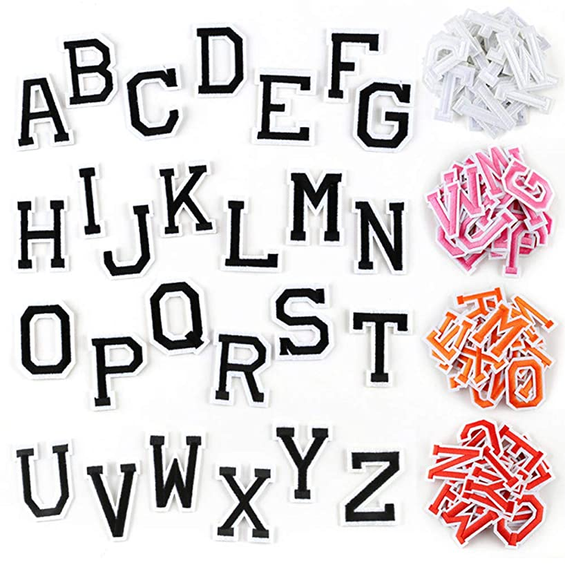Letter Iron On Patches Sew On Appliques with Ironed Adhesive Black White Pink Red Orange Embroidered Decorative Repair Patches for Shoes Hat Bag Clothing(5 Pack Alphabet Letters Set)