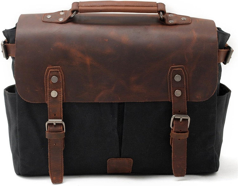Sturdy Men's Canvas Shoulder Bags Messenger Handbag Travel Handbag Man Purse for Work Business Large Capacity (color   Black)