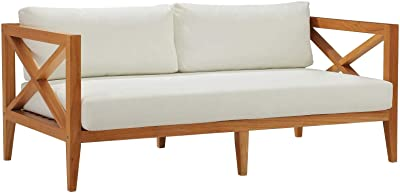 Modway EEI-3427-NAT-WHI Northlake Outdoor Patio Premium Grade A Teak Sofa Couch With Sunproof Cushions, Natural White