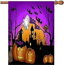Wamika Home Decorative Garden Flag Halloween Pumpkin Gost Double Sided House Yard Flag, Owl Bat Castle Seasonal Outdoor Flags Bannner 28x 40 Inch