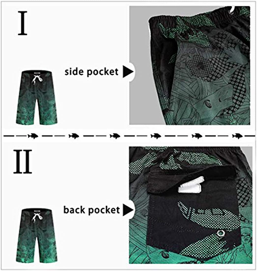 Mens Swim Trunks with Pockets Beach Swimwear Quick Dry Long Elastic Waistband Board Shorts Bathing Suits Holiday : Clothing, Shoes & Jewelry