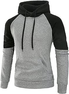 Mooncolour Mens Contrast Color Pullover Fleece Hoodie Cozy Sport Outwear