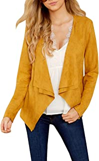 Womens Faux Suede Jacket Long Sleeve Open Front Lightweight Raw Cut Coats