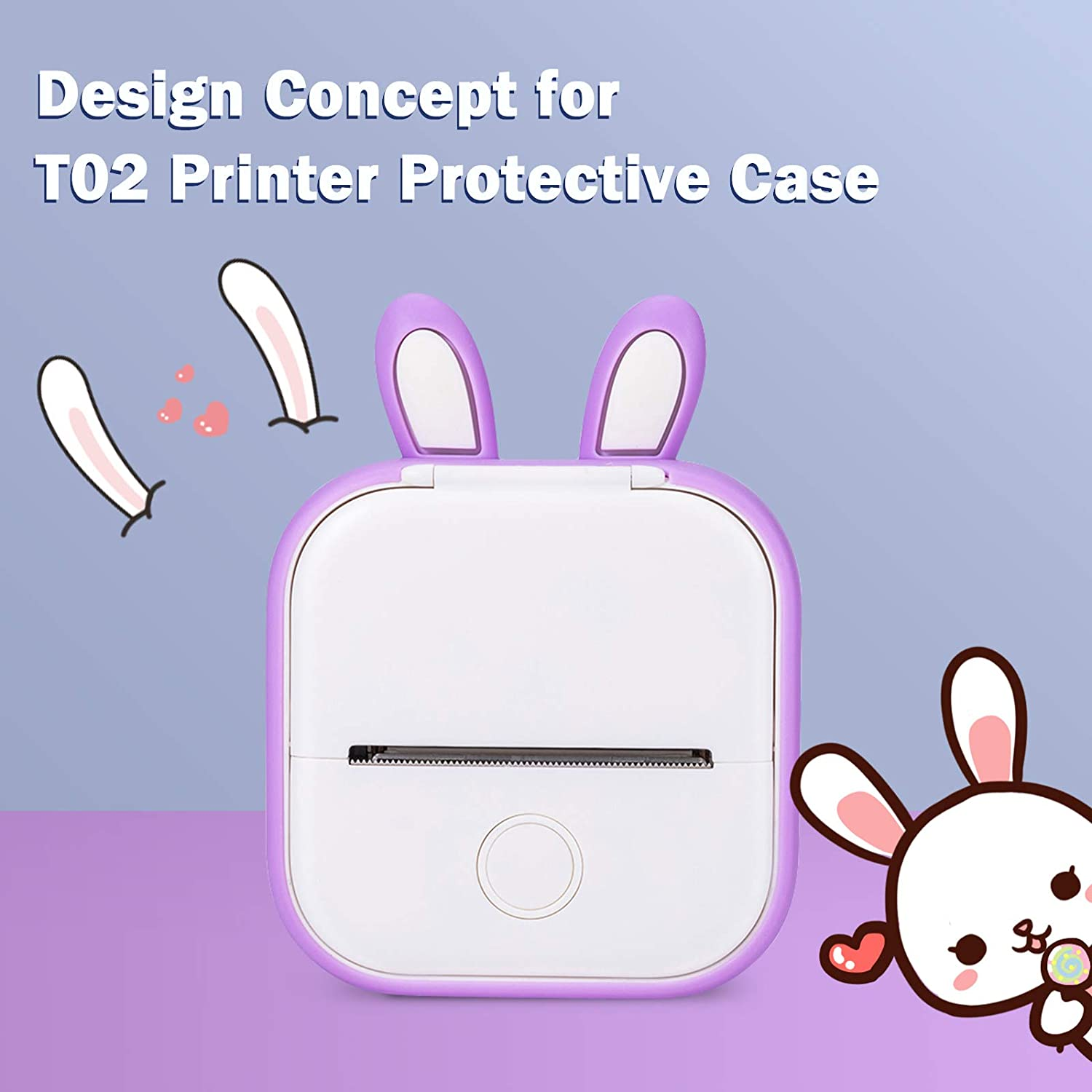 Memoking T02 Protective Case-Bunny Ears Shape Soft Silicone BPA-Free Cute Design Printer Cover, Compatible with T02 Mini Bluetooth Wireless Portable Mobile Pocket Printer, Purple