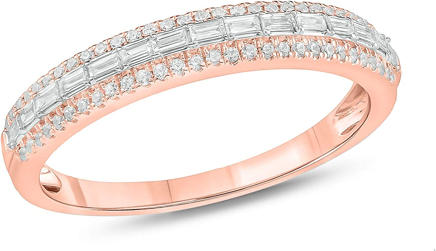 Cali Trove 1/4ct Round Baguette White Diamond 10K White Yellow Rose Gold Stackable Anniversary Band Ring for Women