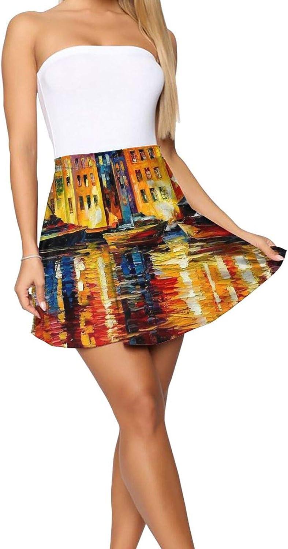 RHRFOL Night Resting Women's Basic Versatile Stretchy Flared Casual Mini Skater Skirt