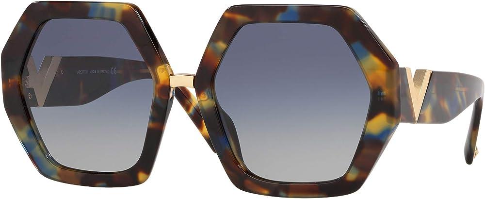 Valentino, occhiali da sole per donna, esagonali, havana/blue shaded RESORT VA 4053A