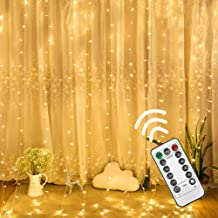 Twinkle Star 300 LED Window Curtain String Light with Remote Control Timer for Christmas Wedding Party Home Garden Bedroom Outdoor Indoor Decoration (Warm White)