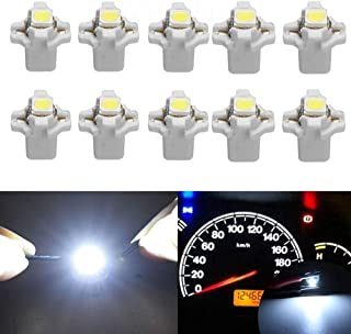 HSUN B8.5D LED Wedge Bulb, SMD5050 Chip 22LM Extremely Bright For Car Auto Dashboard Instrument Reading Gauge Panel Light,10 Packs,6000K White