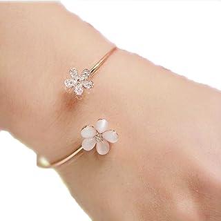 Atommy Pulseras de mujer de plata joyería de margarita fresca brazalete de apertura de ojo de gato joyas de diamantes de i...