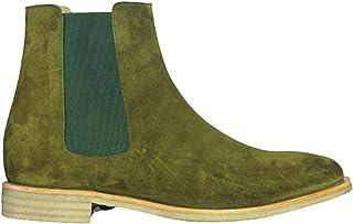 Bottes Chelsea fabriquées à la main en daim vert olive pour homme