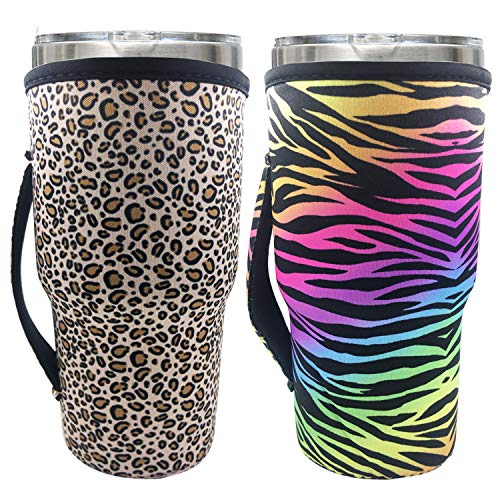 Reusable Neoprene Iced Coffee Cup Sleeve Neoprene Insulated Sleeves Cup Cover Holder Idea For 30oz - 32oz Tumbler Cup,Trenta Starbucks,Large Dunkin Donuts (Only Cup sleeves) (Leopard#2)