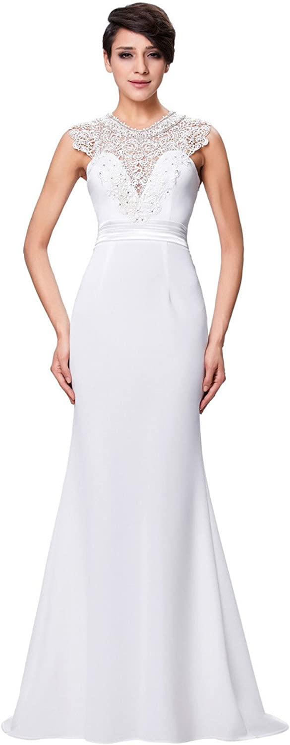 CK sky Women's White Wedding with Sheer Lace Vintage Gowns Mermaid Bridal Dress