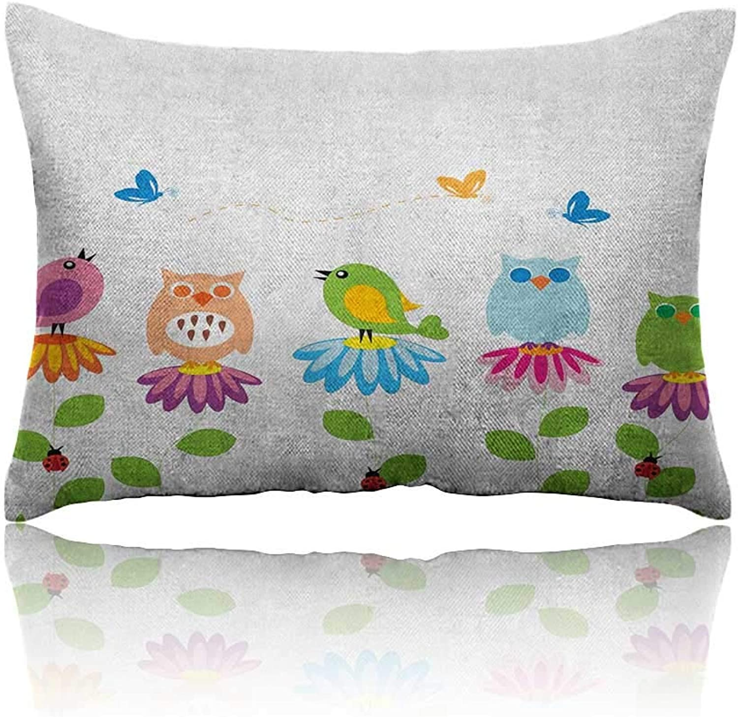 Anyangeight Flowers Cars Pillowcase colorful Cartoon Style Birds on Chamomile Daisy Flowers Butterflies Ladybugs Kids Youth Pillowcase 20 x26  Multicolor