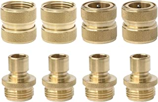 PLG Solid Brass Garden Hose Quick Connect Fittings 3/4-inch Hose Connector for Hose Nozzle,Sprinkler and Faucet