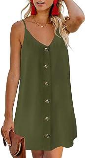 فساتين الصيف للنساء Hotouch حزام السباغيتي زر أسفل الرقبة V عارضة شاطئ الشمس بلا أكمام اللباس القصير