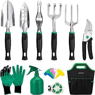 GIGALUMI 11 Piece Garden Tools Set - Gardening Tools with Garden Gloves and Garden Handbag - Gardening Gifts Tool Set with...