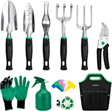 GIGALUMI Garden Tools Set -11 Piece Heavy Duty Gardening Tools with Garden Gloves and Garden Handbag - Aluminum Outdoor Hand Tools with Garden Trowel Pruners and More - Gardening Gifts for Woman