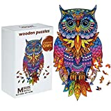 Owl Wooden Puzzles Wooden Animal Shape Jigsaw Puzzles Colorful Owl Puzzles Funny Bird Puzzles Animal Shaped Wooden Craft Toy with Storage Bag and Storage Box for Boys Girls Present (Style 1)