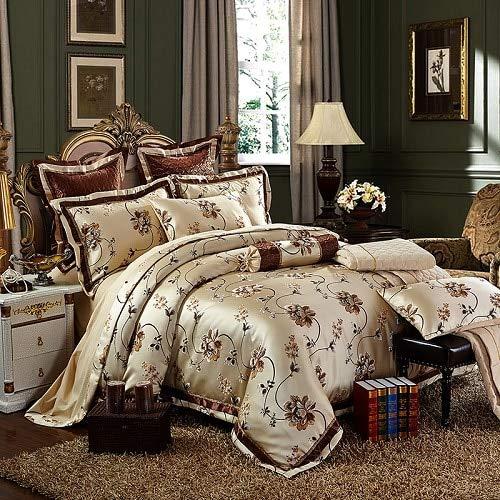 LHOUSSAINE Bedding Sets - cotton stain jacquard wedding bedding set 4/6pcs kits king queen size duvet cover thick cotton bedspread set pillow shams 1 PCs