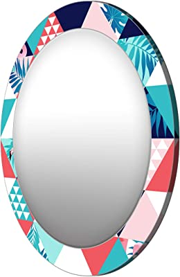 999Store Printed Colorful Triangle Pattern Round Mirror (MDF_24X24 Inch_Multi)