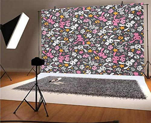 Doodle Toile de fond en vinyle pour photographie de lapins et nuages Kawaii avec de mignons têtes de mort aux yeux de cœur - 1,5 x 0,9 m