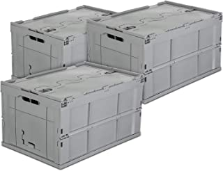 Mount-It! Folding Plastic Storage Crate, PACK OF 3, Collapsible Utility Distribution Container with Attached Lid, 65L Liter Capacity, Gray,