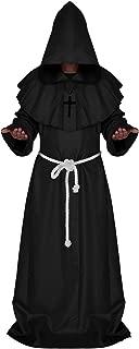 Medieval Friar Monk Priest Hooded Robe Renaissance Cloak Halloween Cosplay Costume