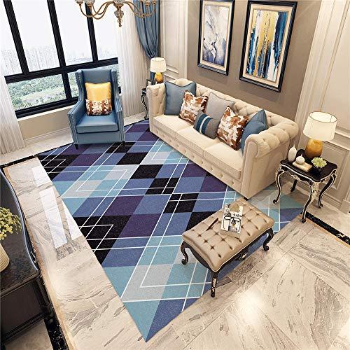 DJHWWD Vloerkleed, antislip, donkerblauw, vierkant geometrisch patroon, zacht vloerkleed, antislip, woonkamertapijt, geluidsdicht, multi-formaat