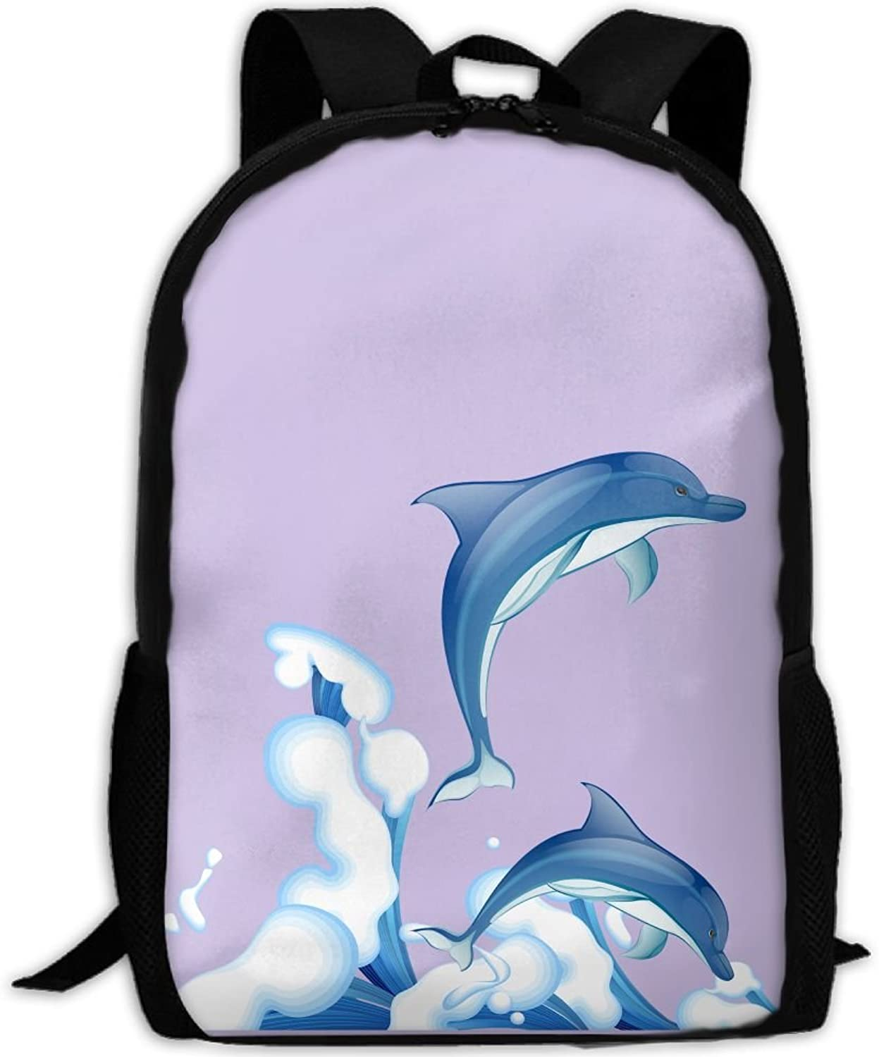 Adult Backpack bluee Dolphin Jumping College Daypack Oxford Bag Unisex Business Travel Sports Bag With Adjustable Strap