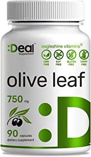 Deal Supplement Olive Leaf Extract 750mg, 90 Capsules, Standardized to 20% Oleuropein- Boost Immune System and Support Car...