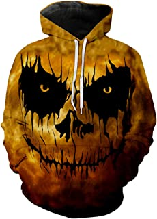 SOMESHINE Halloween Gothic Scary Tops Hoodie for Mens, Pumpkin Devil Long Sleeve 3D Printed Sweatshirts Pullover Blouse