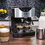 Mr. Coffee Automatic Dual Shot Espresso/Cappuccino System 18 15-bar pump system uses powerful pressure to extract a dark, rich espresso brew Frothing arm makes creamy froth to top off your cappuccinos and lattes Make 2 single shots at once with dual-shot brewing. Watts: 1250