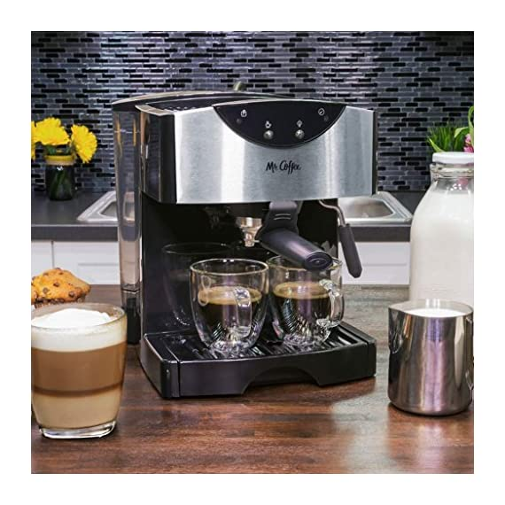 Mr. Coffee Automatic Dual Shot Espresso/Cappuccino System 9 15-bar pump system uses powerful pressure to extract a dark, rich espresso brew Frothing arm makes creamy froth to top off your cappuccinos and lattes Make 2 single shots at once with dual-shot brewing. Watts: 1250