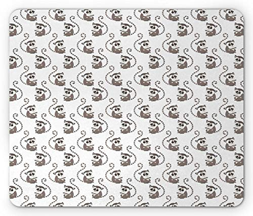 Lemur Mouse Pad, Grappige Baby Animal Ring Tailed endemische aap Continu Cartoon Patroon, muismat Warm Taupe Blush