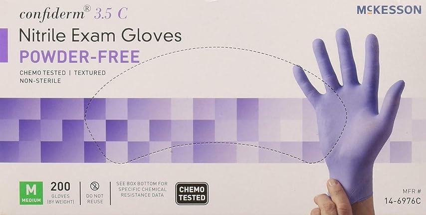 方程式普遍的な不倫McKesson Confiderm 3.5C Nitrile Latex-Free MED Exam Gloves, Medium, Chemo Tested, Powder-Free, 200/BX by Sold Individually