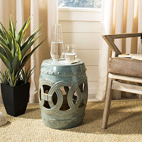 Safavieh Double Coin Ceramic Decorative Garden Stool, Antique Blue-Green