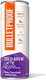 Bulletproof Dark Chocolate Cold Brew Coffee Plus Collagen Protein, 12 Pack, Keto Friendly with Brain Octane C8 MCT Oil and...