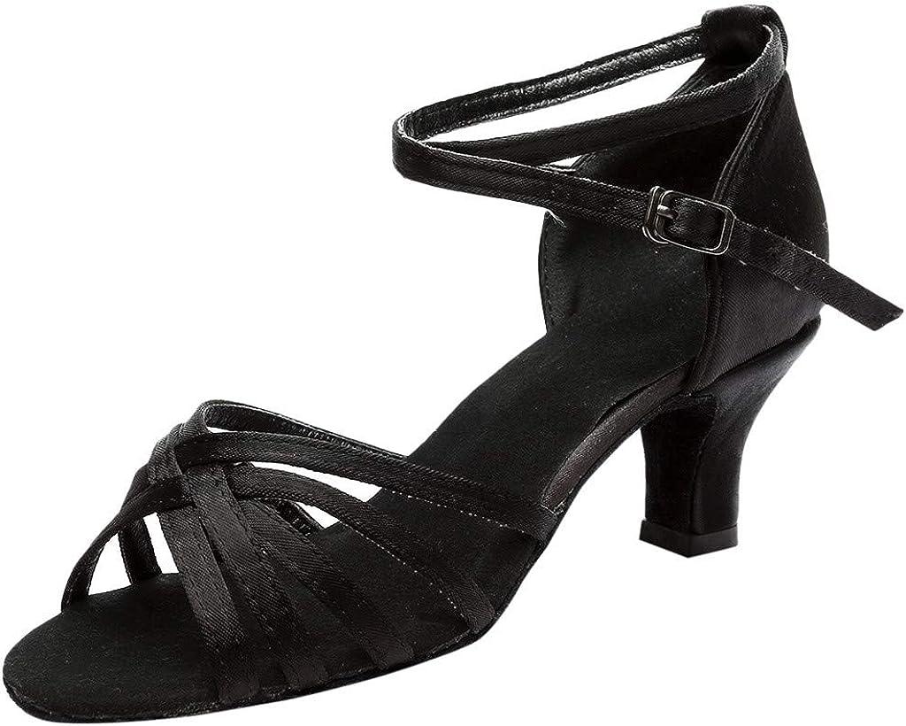 VEFSU Women's Color Fashion Rumba Waltz Prom Ballroom Latin Salsa Dance Shoes Buckle Strap Sandals