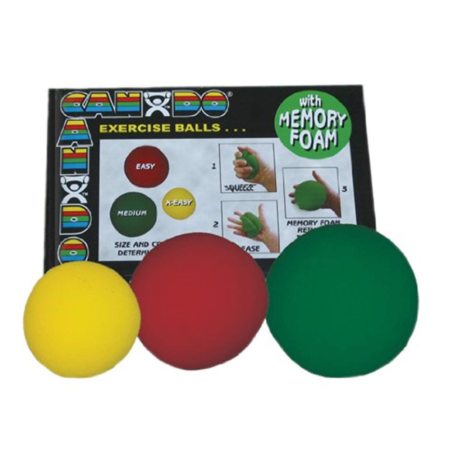 Cando Memory Foam Max 65% OFF Squeeze Ball - Yellow 3-Piece Safety and trust red Sets Gree