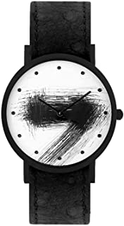 South Lane Swiss Quartz Stainless Steel and Leather Casual Watch, Color:Black (Model: core-SL-135)