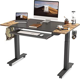 FEZIBO Dual Motor Height Adjustable Electric Standing Desk with Keyboard Tray, 48 x 24 Inch Sit Stand Table with Splice Bo...