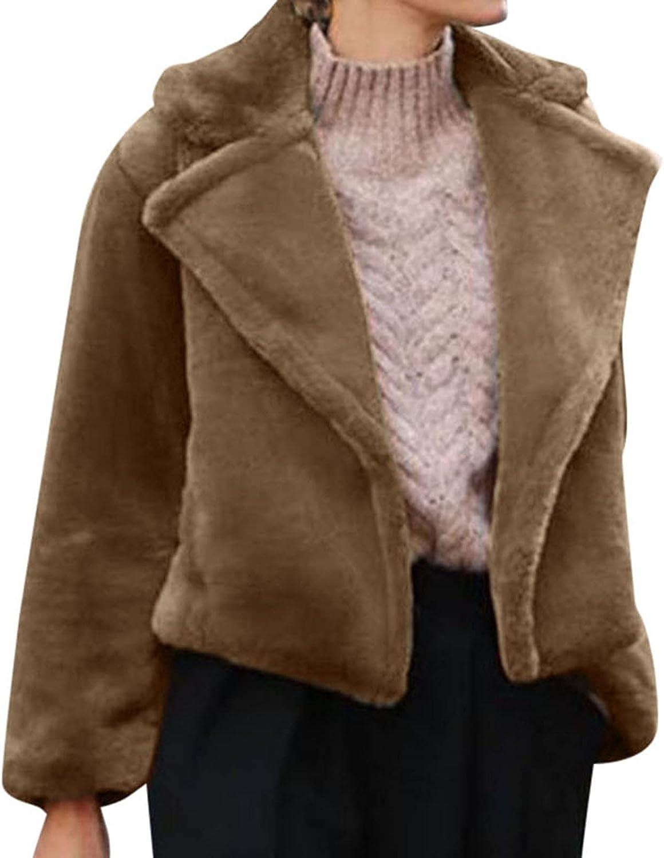 Women's Faux Fur Winter Jacket Open Front Long Sleeve Crop Cardigan