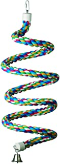 "Super Bird Creations SB326 Colorful Cotton Bungee Rope Bird Toy with Ringing Bell, Extra-Large Size, 1.25"" x 97"""