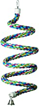 """Super Bird Creations SB326 Colorful Cotton Bungee Rope Bird Toy with Ringing Bell, Extra-Large Size, 1.25"""" x 97"""""""